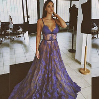2017 Lavender Sexy Lace Prom Dresses Long See-Through Arabia Homecoming Maxi Gowns Sheer Prom Gown Graduation Gown Vestidos
