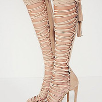 Newest Sexy Lace Up Thigh High Gladiator Sandals Boots Cut-outs Over Knee Gladiator Boots Leather High Heel Summer Boots