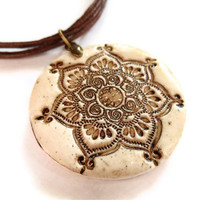 Lotus mandala pendant faux ivory aged bone by MoonsafariBeads