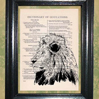 Portrait of a Lion - Vintage Dictionary Book Page Art Beautiful Upcycled Page Art Wall Decor Art Print