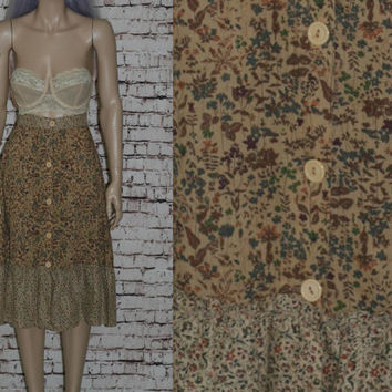 70s High Waist Midi Skirt Floral Tiered Peasant Prairie Revival Smocked Cotton Boho Hippie Festival Hipster XS S Bohemian 60s brown Rayon