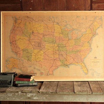 Shop Vintage United States Map On Wanelo - Large framed us map