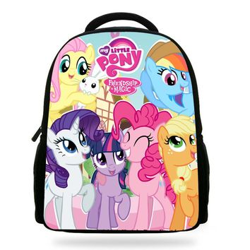 14Inch Hot Sale Cartoon Bookbags My Little Pony School Bag For Teenager Backpack Children Girls