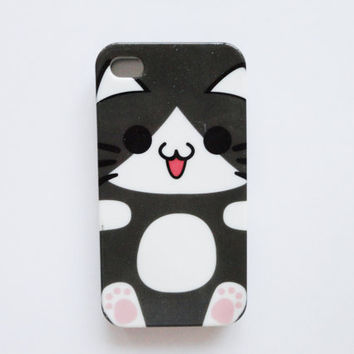 Black Kawaii Cat - iPhone 4 protective cases.