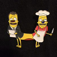 Michael and pichael cat dog mashup rick and morty hat pin
