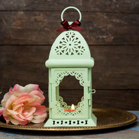 Mint Moroccan Lantern/ Exotic Candle Holder/ Mint Wedding Lanterns/ Rustic decor/ Metal Candle Holder/ Wedding Lighting