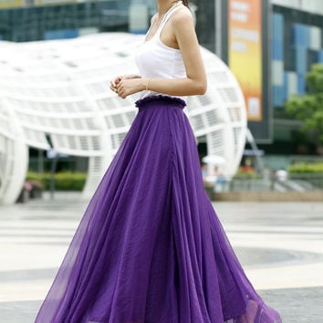Fairy Retro Chiffon Maxi Skirt Strapless Dress Big Sweep Long Skirt in Purple - NC405