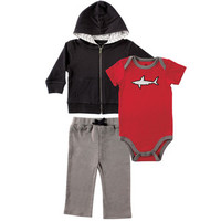 Yoga Sprout Hoodie, Bodysuit, and Pants Set, Shark | Affordable Infant Clothing