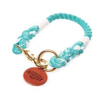 Teal Ombré Rope Dog Collar