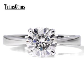 14KT White Gold Luxury Colorless Lab Diamond Ring Solitaire
