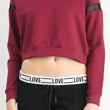 Mesh Detail Crop Sweatshirt