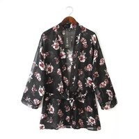 Women's Fashion Vintage Print Shirt Jacket [5013313348]