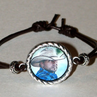 Jason Aldean Leather-Adjustable Pendant Photo Bracelet-Or any Person-Place-Thing