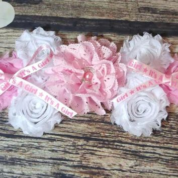 Pink and White with It's a Girl Ribbon Maternity Sash