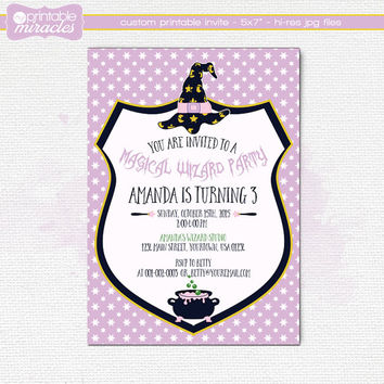 Purple wizard invitation, Girls magic birthday invite, Digital printable Witch party invitation card for kids, Magician birthday / 2 sided