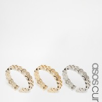 ASOS Curve | ASOS CURVE Pack of 3 Braid Toe Rings at ASOS
