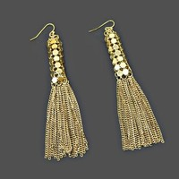 Extra Long Dangle Earrings Mesh with Chains Tassel Wires for Pierced Ears Gold Tone 4 inches Length