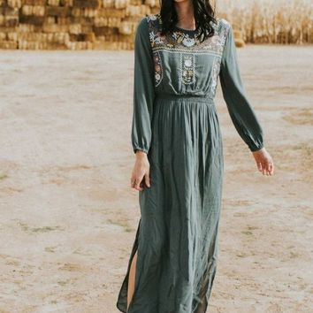 Mayan Embroidered Sage Maxi Dress