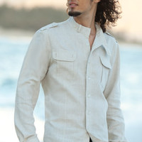 Men's Linen Safari Shirt, Shoulder Epaulets, Chest Pockets, Long Sleeve - Island Importer