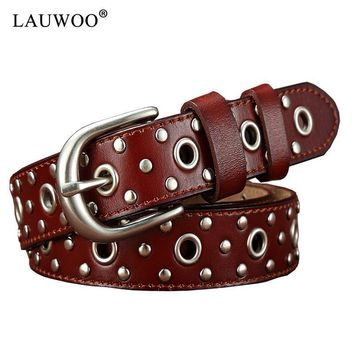 LAUWOO Brand trend Rivet Belt Fashion Rhinestone Men&Women's Studded Belts High Quality Male Leather Rock Women Strap Hip Hop