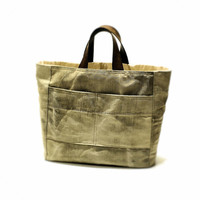 Grey canvas bag  Recycled vintage bag Leather Straps