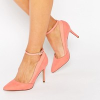 New Look Suedette Ankle Strap Court Shoes at asos.com