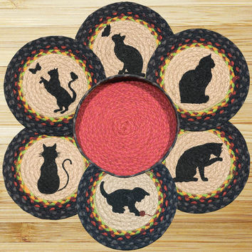 Cats Round Trivets in a Basket (Set of 7)