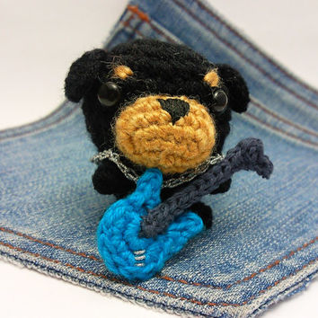 Amigurumi,crochet dog,Rottweiler with an electric guitar, Puppy Dog toy, Dog plushie+electric guitar. Rottweiler toy