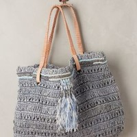 Tulay Raffia Tote by Ambre Babzoe Grey All Bags