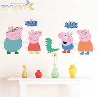 DKF4S Cartoon Peppa Pig Cute Wall Sticker Bedroom Child Decoration Painting Baby Living room Wallpaper DIY Removable Home decor-lch