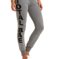 Total Bae Graphic Skinny Sweatpants by Charlotte Russe - Gray