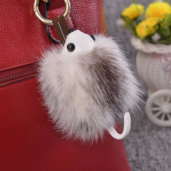2017 New Imported Mink Hair Small Hedgehog Fur Pendant Hamster Key Buckle Lovely Female Pendant Gift Gift Meng Pet Decoration