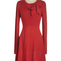ModCloth Mid-length Long Sleeve A-line Underpinnings of Style Dress in Red