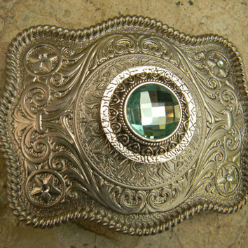 Mint Green Silver Concho Belt Buckle, Western Womens Southwestern Country Engraved Buckle, Silver Concho Western Custom Belt Buckle