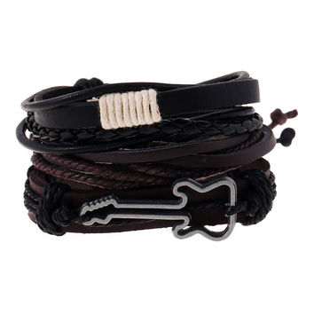 Fashion Jewelry Alloy Guitar Bracelet Hemp Rope Woven PU Rivet Beaded Leather Bracelet Men Casual Vintage Punk Bracelet 1403