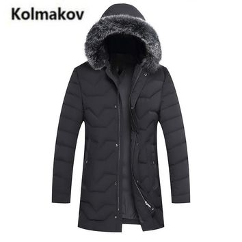 KOLMAKOV 2017 new winter high quality men's fashion Fox fur collar hooded down jacket,90% white duck down coats warm parkas men.