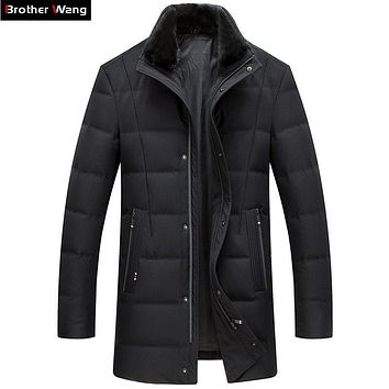 Brother Wang Brand 2017 Winter New Men's Long Down Jacket Mink Hair Collar Thick Warm Duck Down Coat Male
