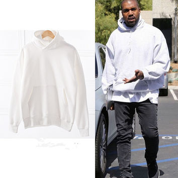2017 hip hop OVERSIZE kany west classic style men unisex baggy solid hoodie in white Sweatshirts Size M-XL