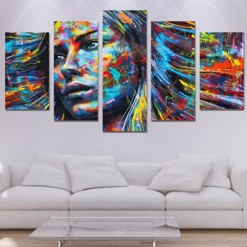 wall art canvas print abstract 5 piece colorful hair figure woman face