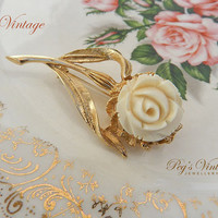 Vintage Carved Celluloid Ivory Colour Rose Brooch//Pin, Gold Tone Flower Rose Pin