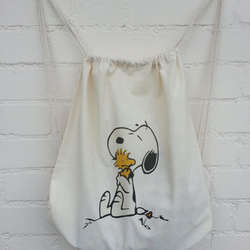Snoopy and Woodstock Hugging Natural Cotton Duffel/Duffle Bag