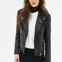 FOREVER 21 Faux Leather Bomber Jacket Black