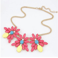 Rose Red Floral Shape Chain Necklace