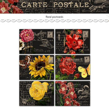 Floral printable postcards / digital collage sheet / vintage floral tags / scrapbook embellishment / cardmaking, scrapbooking, crafts, ACEO