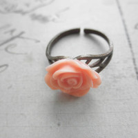 Vintage Look Brass and Pink Rose Adjustable Ring
