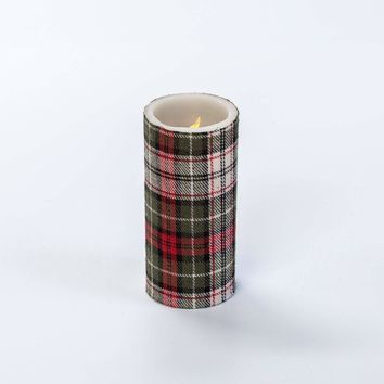 6 IN TARTAN PLAID PILLAR CANDLE WITH TIMER