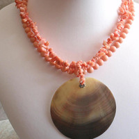 Angel Skin Necklace Coral Two Strand With Black Lip MOP Medallion Vintage 092113MF
