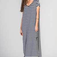 Abigail Navy Stripe T-Shirt Maxi Dress