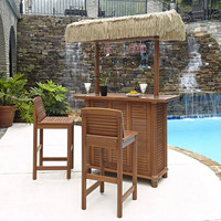 Bali Hai Eucalyptus Tiki Bar And Two Stools Home Styles Furniture Bars Patio Dining Tables