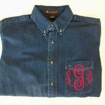 Monogrammed Denim Button Down shirt personalized by maryandlucy